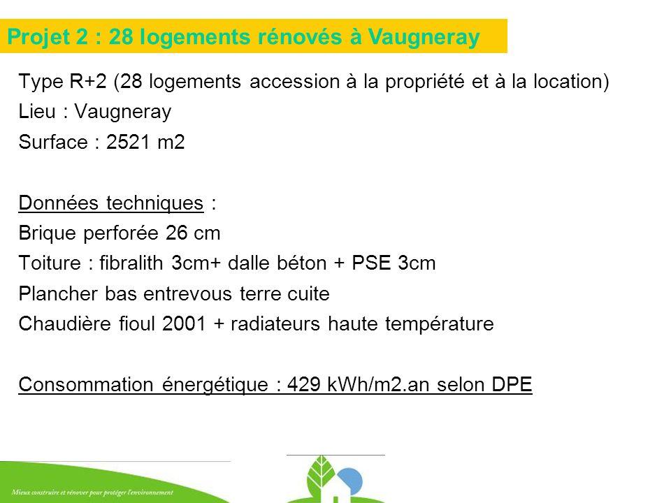 Type R+2 (28 logements accession à la propriété et à la location) Lieu : Vaugneray Surface : 2521 m2 Données techniques : Brique perforée 26 cm Toitur