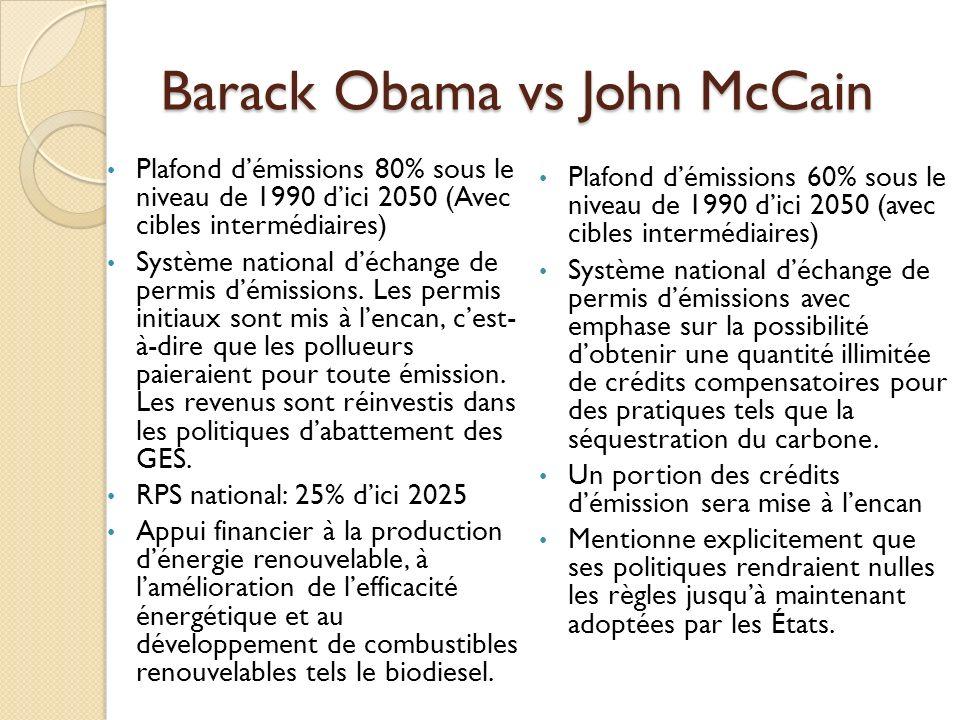 Barack Obama vs John McCain Plafond démissions 80% sous le niveau de 1990 dici 2050 (Avec cibles intermédiaires) Système national déchange de permis démissions.