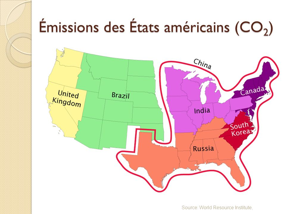 Émissions des États américains (CO 2 ) Source: World Resource Institute,