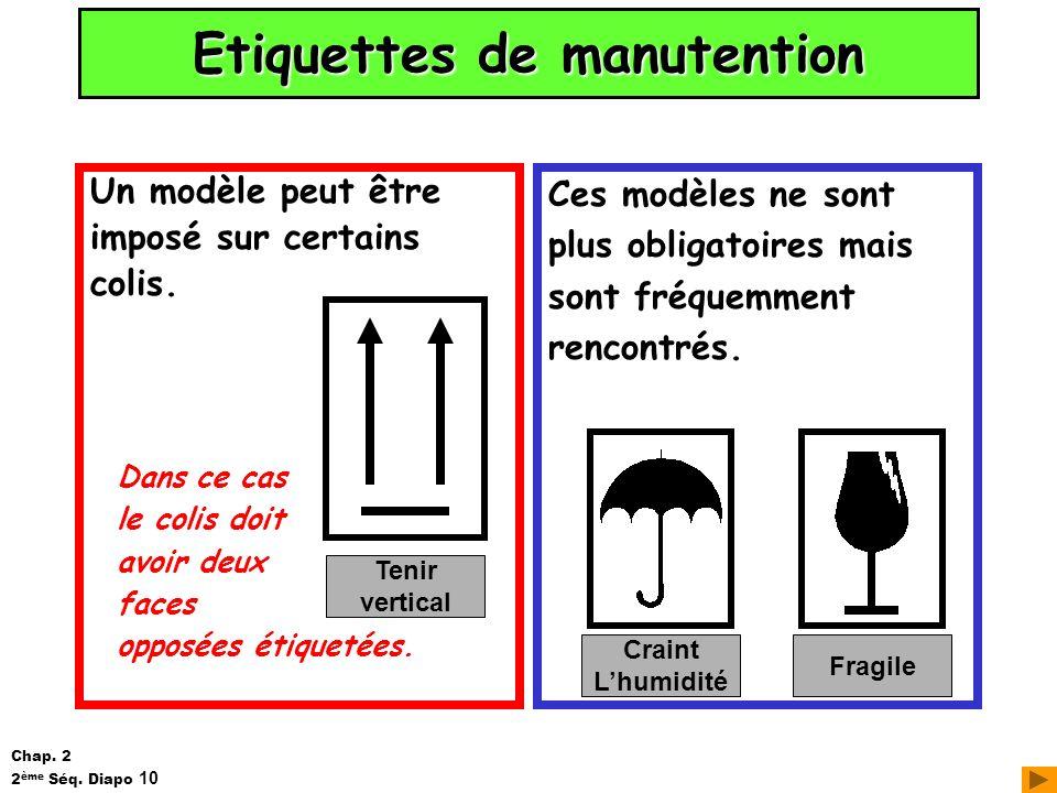 Etiquettes de manutention Un modèle peut être imposé sur certains colis. Ces modèles ne sont plus obligatoires mais sont fréquemment rencontrés. Crain