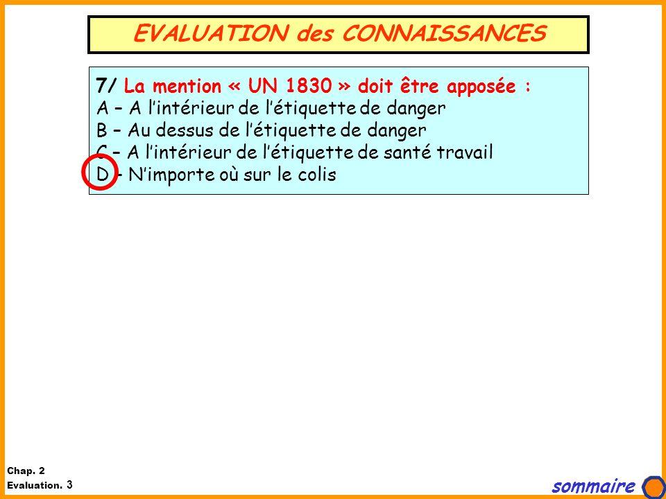 EVALUATION des CONNAISSANCES 7/ La mention « UN 1830 » doit être apposée : A – A lintérieur de létiquette de danger B – Au dessus de létiquette de dan