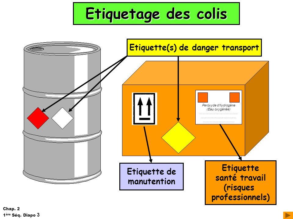 Etiquetage des colis Etiquette(s) de danger transport Peroxyde dhydrogène (Eau oxygénée) …………………………….. ………………………….. ……………………….. Etiquette santé travai