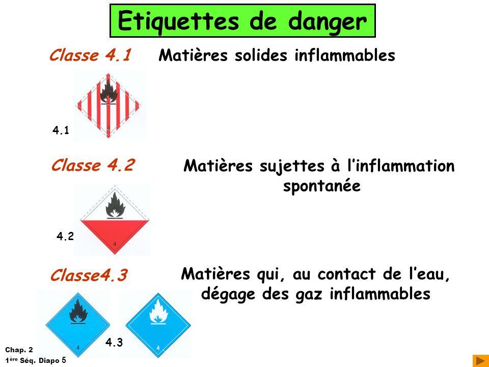 Etiquettes de danger Classe 4.1 Classe 4.2 Matières solides inflammables Matières sujettes à linflammation spontanée Classe4.3 Matières qui, au contac