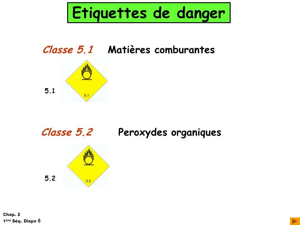 Etiquettes de danger Classe 5.1 Classe 5.2 Matières comburantes Peroxydes organiques 5.1 5.2 Chap. 2 1 ère Séq. Diapo 6