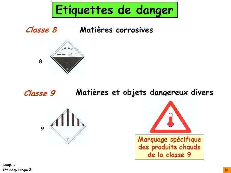 Etiquettes de danger Classe 8 Classe 9 Matières corrosives Matières et objets dangereux divers 8 9 Marquage spécifique des produits chauds de la class