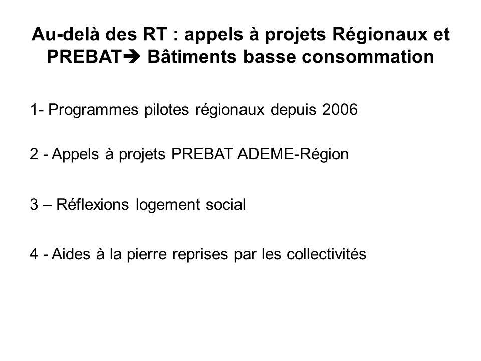 Au-delà des RT : appels à projets Régionaux et PREBAT Bâtiments basse consommation 1- Programmes pilotes régionaux depuis 2006 2 - Appels à projets PREBAT ADEME-Région 3 – Réflexions logement social 4 - Aides à la pierre reprises par les collectivités