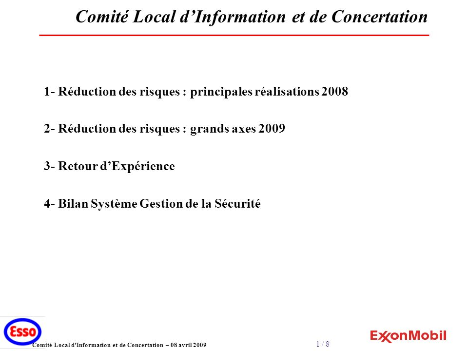 1 / 8 Comité Local dInformation et de Concertation – 08 avril 2009 Comité Local dInformation et de Concertation 1- Réduction des risques : principales réalisations 2008 2- Réduction des risques : grands axes 2009 3- Retour dExpérience 4- Bilan Système Gestion de la Sécurité