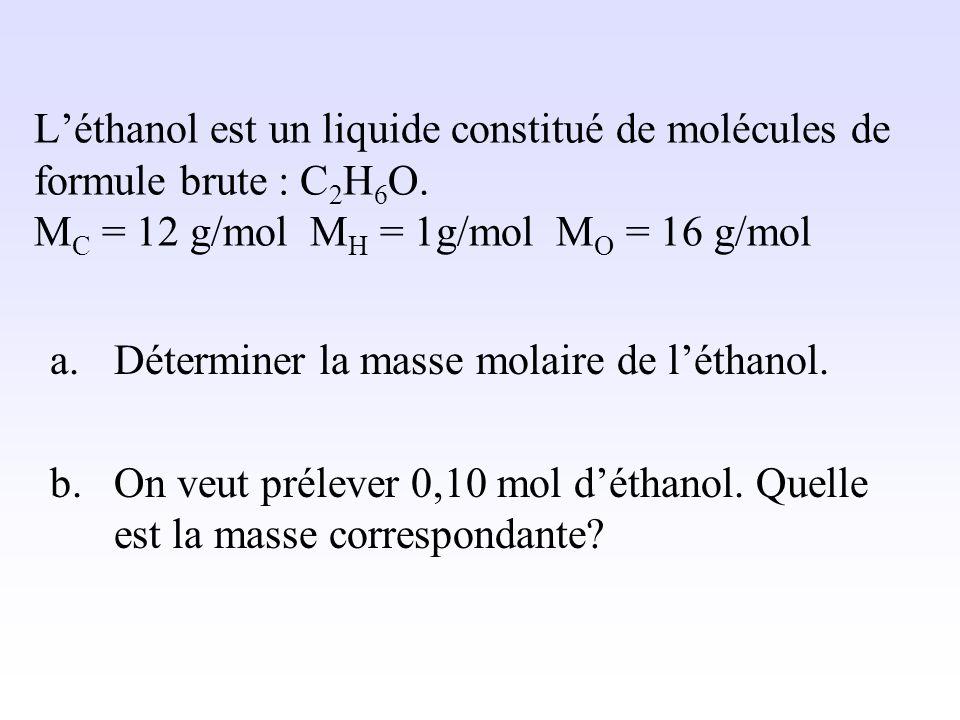 La quantité de matière Ni est : n Ni = n Ni = 12/60 n Ni = 0,20 mol. Quantité de matière en mol Masse en g Masse molaire en g/mol