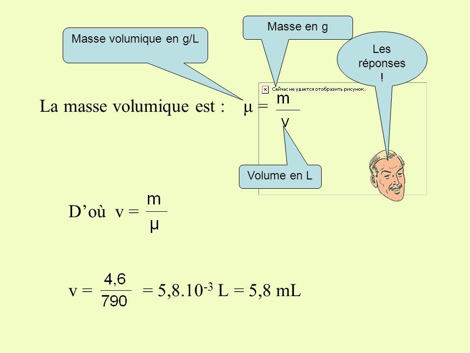 Plus difficile : Quel est le volume déthanol à prélever, sachant que la masse volumique est μ = 790 g/L?