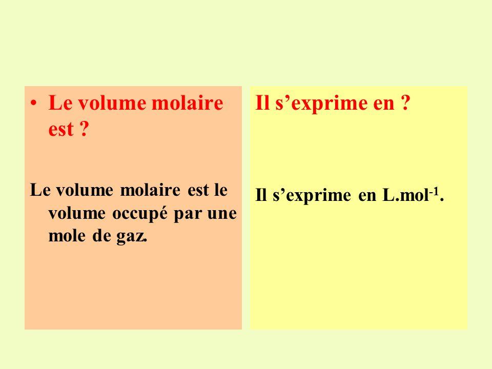 Le volume molaire ??? Le volume molaire est : a.Le nombre de moles contenues dans 1L de gaz. b.Le volume occupé par une mole de gaz. c.Le volume occup