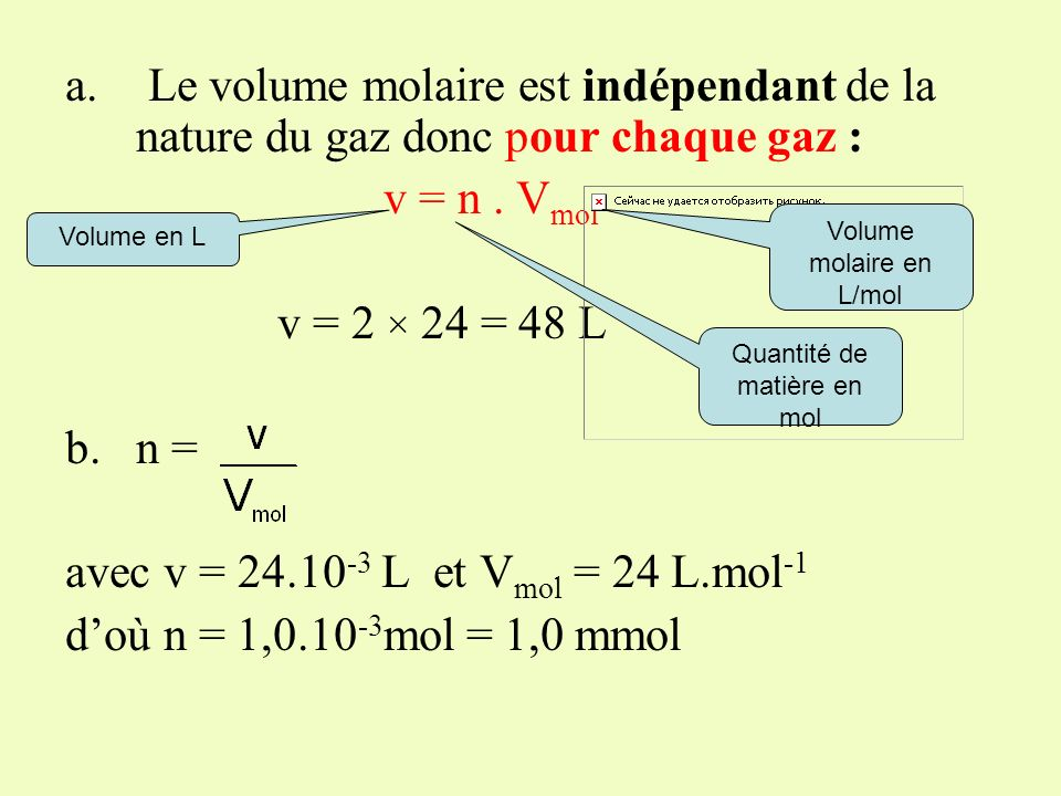 A 20° C et sous 1013 hPa, V mol = 24 L.mol -1 a.Quel est le volume occupé par 2 moles de dihydrogène H 2, par 2 moles de dioxyde de carbone CO 2 ? b.Q