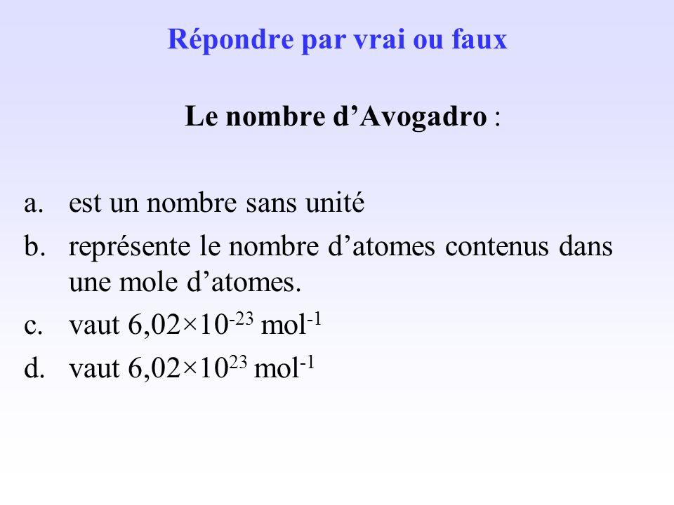 Une mole de molécules est un ensemble de 6,02×10 23 molécules