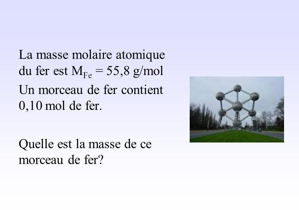Quantité de matière pour un solide ou un liquide
