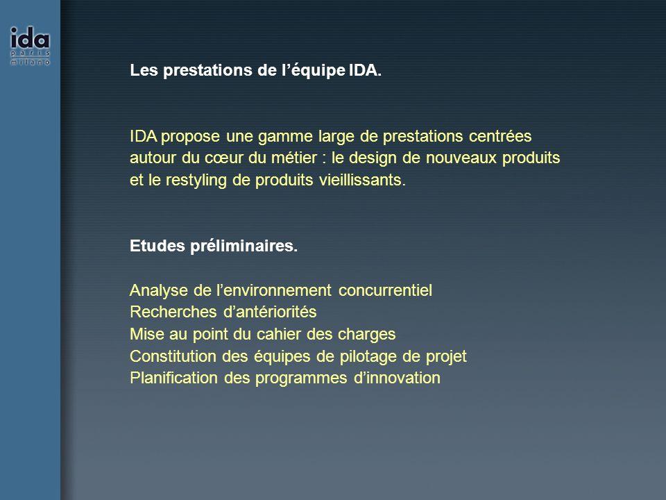 Les prestations de léquipe IDA. IDA propose une gamme large de prestations centrées autour du cœur du métier : le design de nouveaux produits et le re