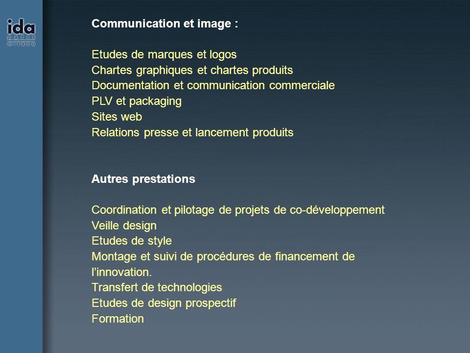 Communication et image : Etudes de marques et logos Chartes graphiques et chartes produits Documentation et communication commerciale PLV et packaging