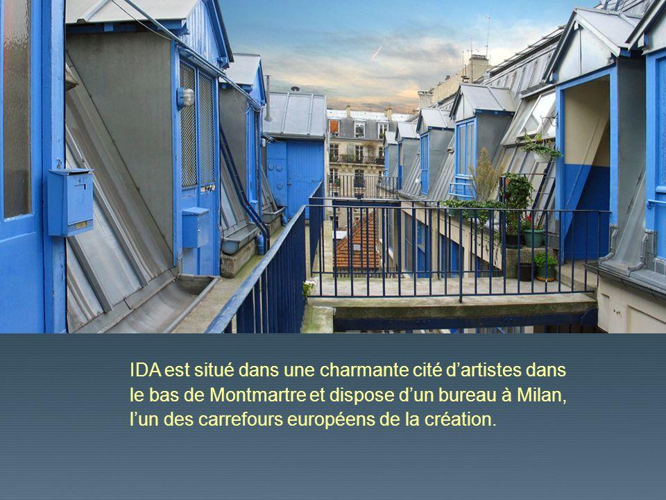 IDA est situé dans une charmante cité dartistes dans le bas de Montmartre et dispose dun bureau à Milan, lun des carrefours européens de la création.