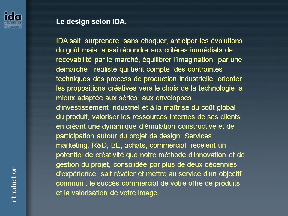 introduction Le design selon IDA.