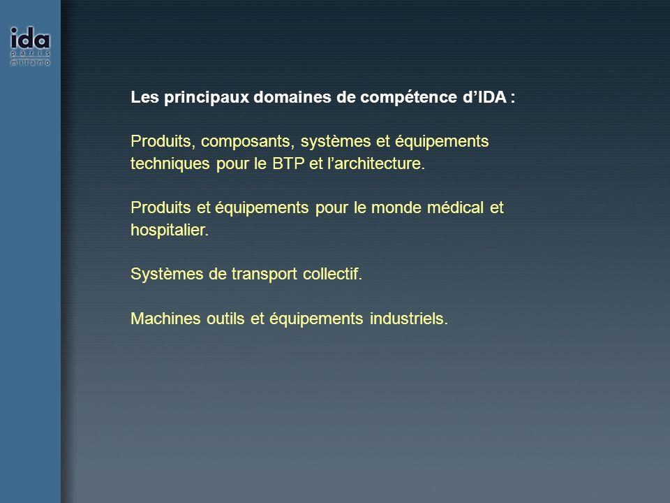 Les principaux domaines de compétence dIDA : Produits, composants, systèmes et équipements techniques pour le BTP et larchitecture. Produits et équipe