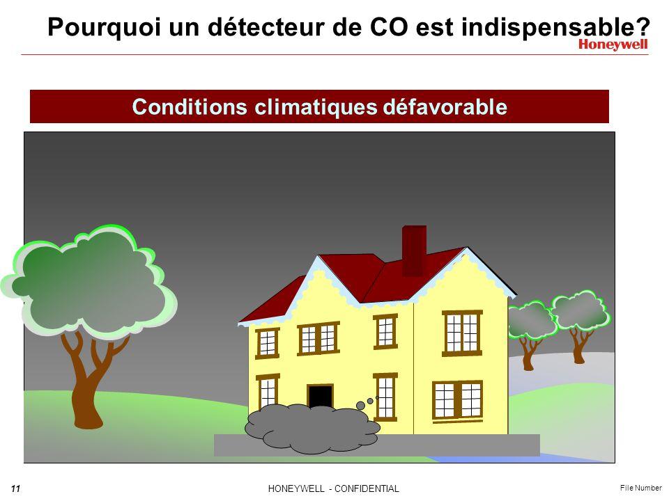 11HONEYWELL - CONFIDENTIAL File Number Pourquoi un détecteur de CO est indispensable? Conditions climatiques défavorable