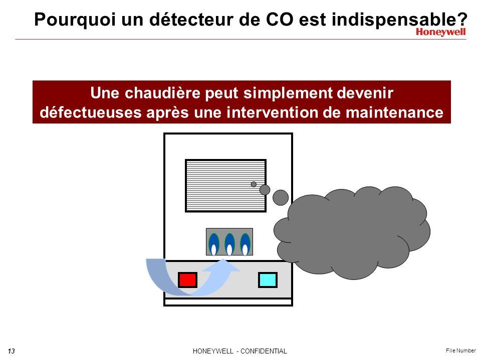 13HONEYWELL - CONFIDENTIAL File Number Pourquoi un détecteur de CO est indispensable? Une chaudière peut simplement devenir défectueuses après une int