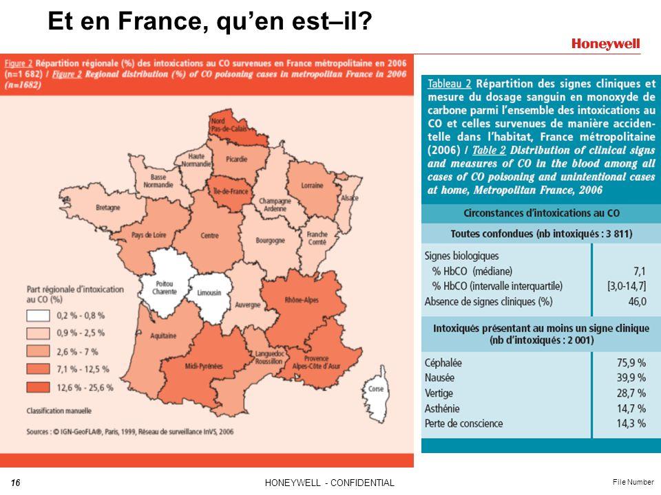 16HONEYWELL - CONFIDENTIAL File Number Et en France, quen est–il?