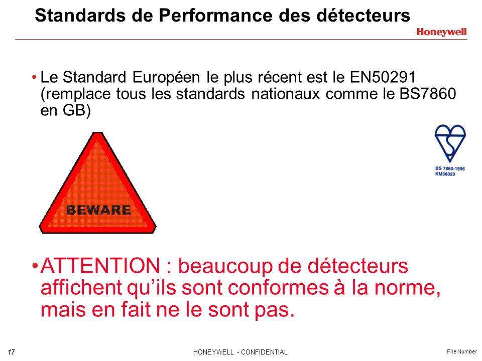 17HONEYWELL - CONFIDENTIAL File Number Standards de Performance des détecteurs Le Standard Européen le plus récent est le EN50291 (remplace tous les standards nationaux comme le BS7860 en GB) ATTENTION : beaucoup de détecteurs affichent quils sont conformes à la norme, mais en fait ne le sont pas.
