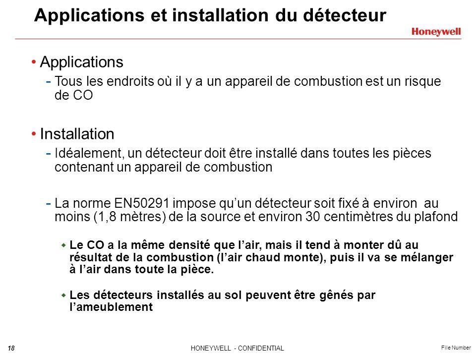 18HONEYWELL - CONFIDENTIAL File Number Applications et installation du détecteur Applications - Tous les endroits où il y a un appareil de combustion