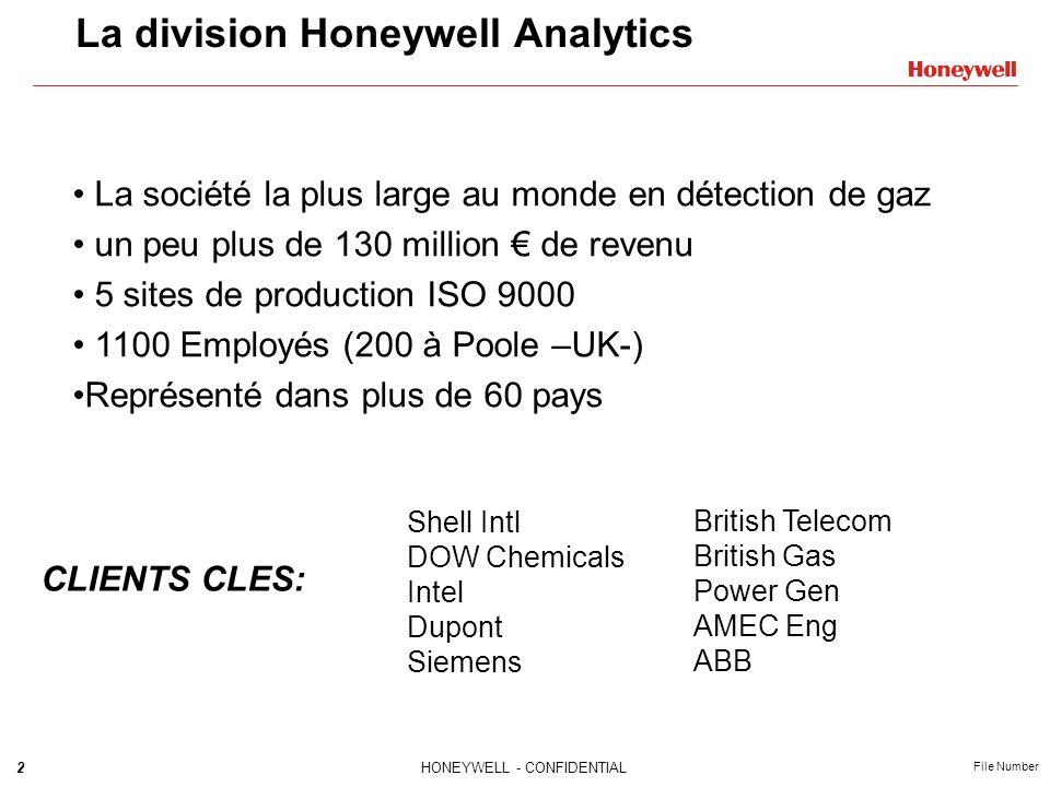 2HONEYWELL - CONFIDENTIAL File Number La division Honeywell Analytics La société la plus large au monde en détection de gaz un peu plus de 130 million de revenu 5 sites de production ISO 9000 1100 Employés (200 à Poole –UK-) Représenté dans plus de 60 pays CLIENTS CLES: Shell Intl DOW Chemicals Intel Dupont Siemens British Telecom British Gas Power Gen AMEC Eng ABB