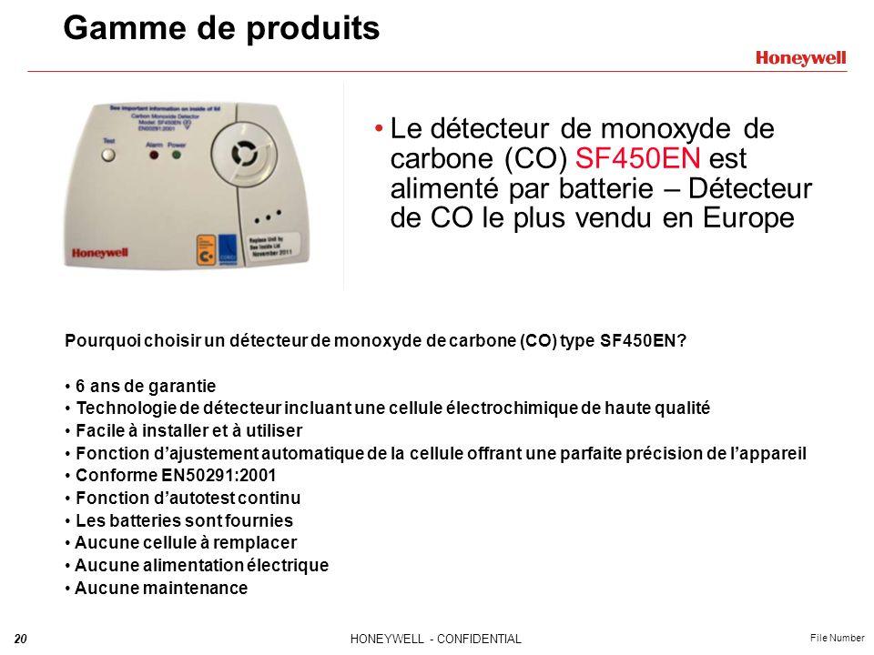 20HONEYWELL - CONFIDENTIAL File Number Gamme de produits Le détecteur de monoxyde de carbone (CO) SF450EN est alimenté par batterie – Détecteur de CO