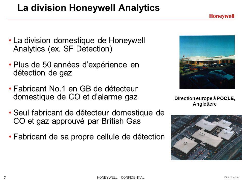 4HONEYWELL - CONFIDENTIAL File Number La division Honeywell Analytics Le SEUL fabricant de détecteur de CO au monde à avoir toutes les approbations EN, BSI, CORGI, UL et CSA LE PLUS large centre de test et de fabrication pouvant fournir plus de 2000 détecteur CO par jour