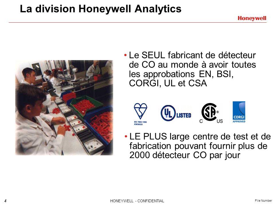 4HONEYWELL - CONFIDENTIAL File Number La division Honeywell Analytics Le SEUL fabricant de détecteur de CO au monde à avoir toutes les approbations EN