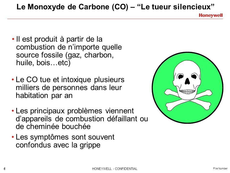 6HONEYWELL - CONFIDENTIAL File Number Le Monoxyde de Carbone (CO) – Le tueur silencieux Il est produit à partir de la combustion de nimporte quelle source fossile (gaz, charbon, huile, bois…etc) Le CO tue et intoxique plusieurs milliers de personnes dans leur habitation par an Les principaux problèmes viennent dappareils de combustion défaillant ou de cheminée bouchée Les symptômes sont souvent confondus avec la grippe