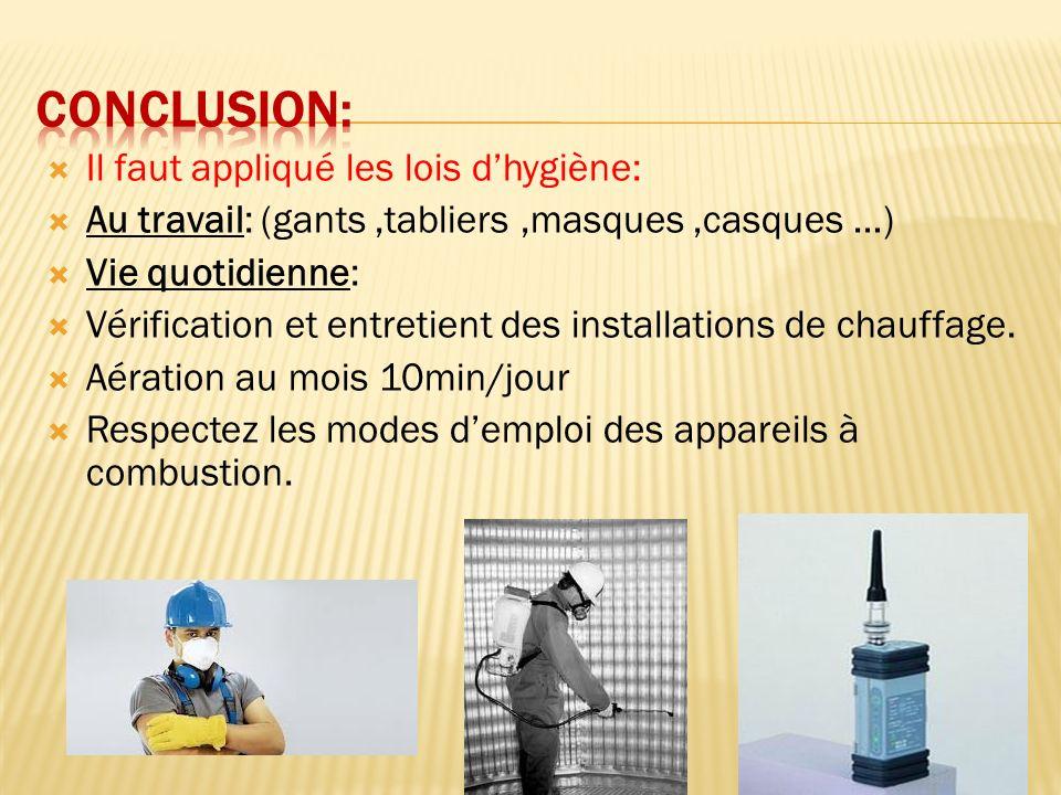 Il faut appliqué les lois dhygiène: Au travail: (gants,tabliers,masques,casques …) Vie quotidienne: Vérification et entretient des installations de ch