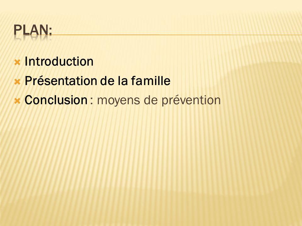 Introduction Présentation de la famille Conclusion : moyens de prévention