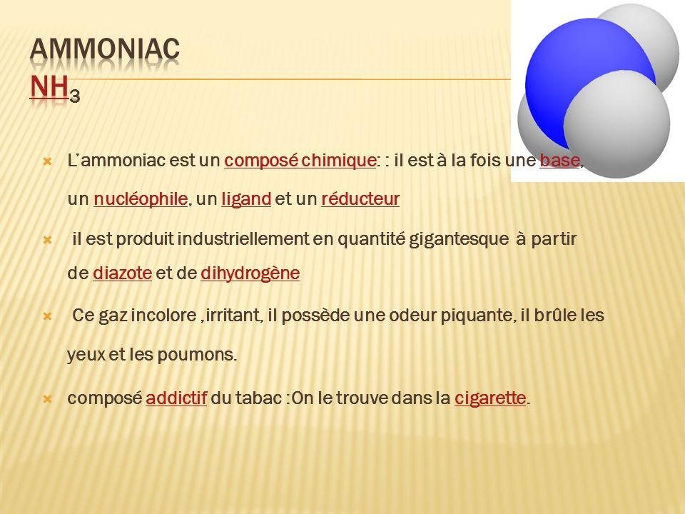 Lammoniac est un composé chimique: : il est à la fois une base, un nucléophile, un ligand et un réducteurcomposé chimiquebasenucléophileligandréducteu