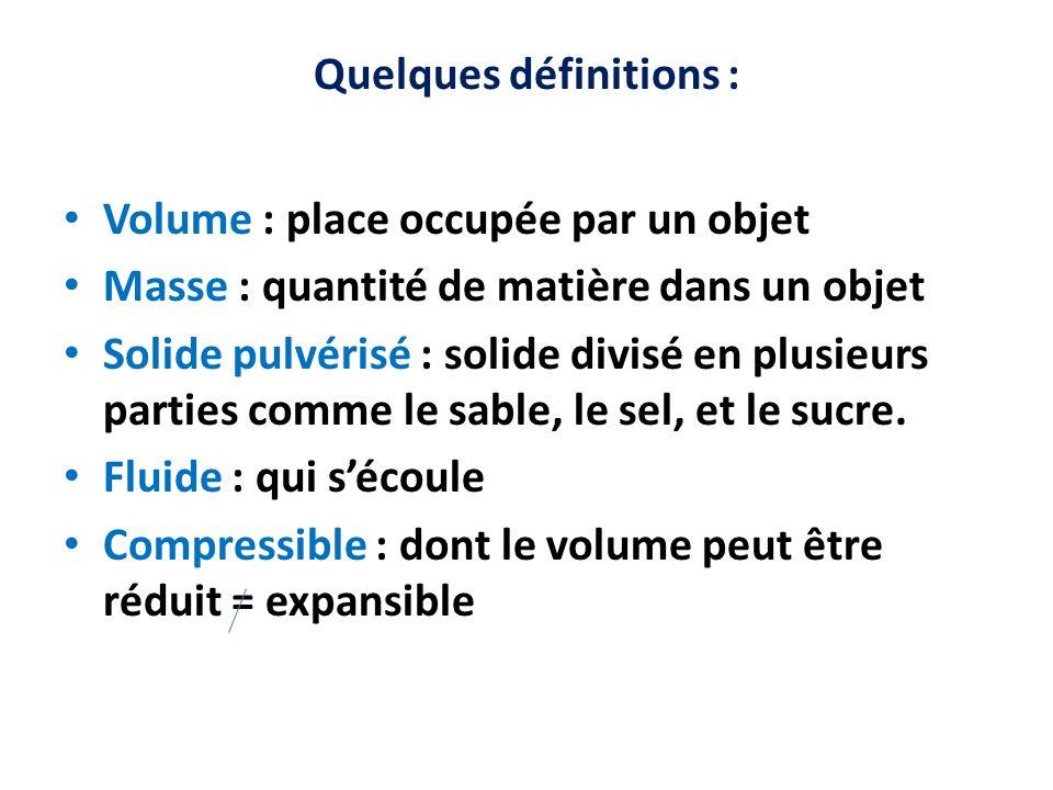 Quelques définitions : Volume : place occupée par un objet Masse : quantité de matière dans un objet Solide pulvérisé : solide divisé en plusieurs par