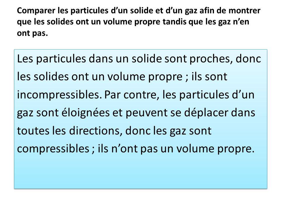 Comparer les particules dun solide et dun gaz afin de montrer que les solides ont un volume propre tandis que les gaz nen ont pas. Les particules dans