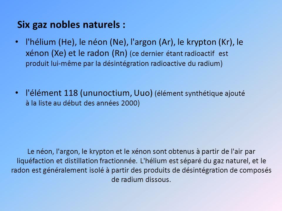 Le néon, l'argon, le krypton et le xénon sont obtenus à partir de l'air par liquéfaction et distillation fractionnée. L'hélium est séparé du gaz natur