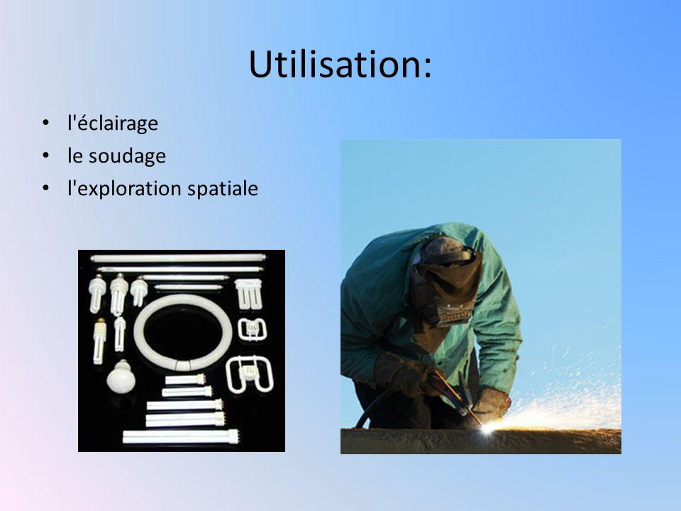 Utilisation: l'éclairage le soudage l'exploration spatiale