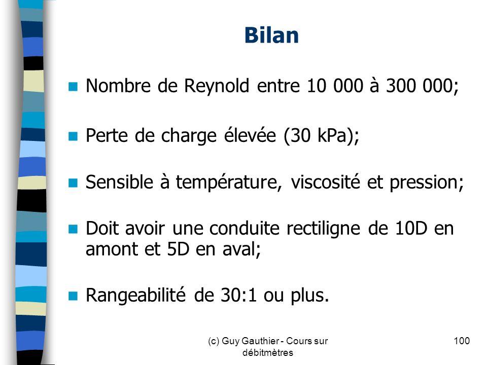 Bilan Nombre de Reynold entre 10 000 à 300 000; Perte de charge élevée (30 kPa); Sensible à température, viscosité et pression; Doit avoir une conduit