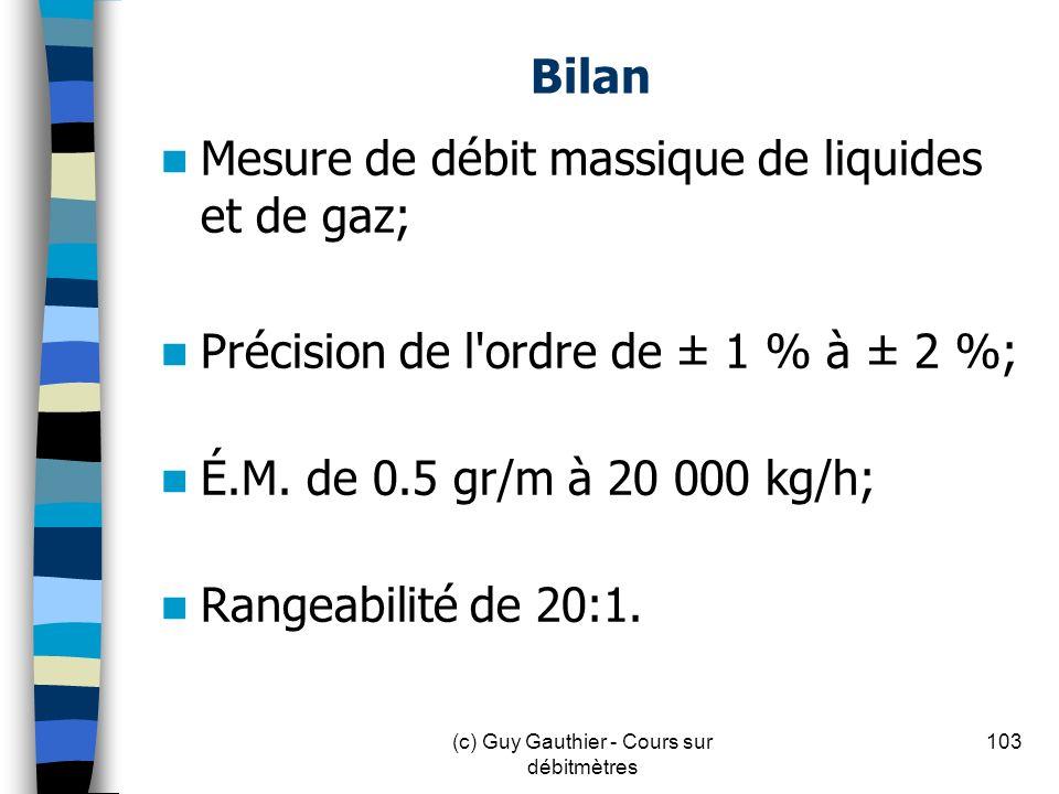 Bilan Mesure de débit massique de liquides et de gaz; Précision de l'ordre de ± 1 % à ± 2 %; É.M. de 0.5 gr/m à 20 000 kg/h; Rangeabilité de 20:1. 103