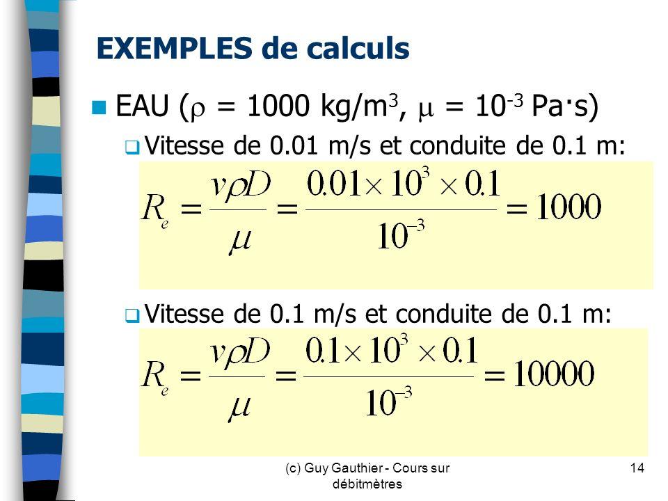 EXEMPLES de calculs EAU ( = 1000 kg/m 3, = 10 -3 Pa·s) Vitesse de 0.01 m/s et conduite de 0.1 m: Vitesse de 0.1 m/s et conduite de 0.1 m: 14(c) Guy Ga