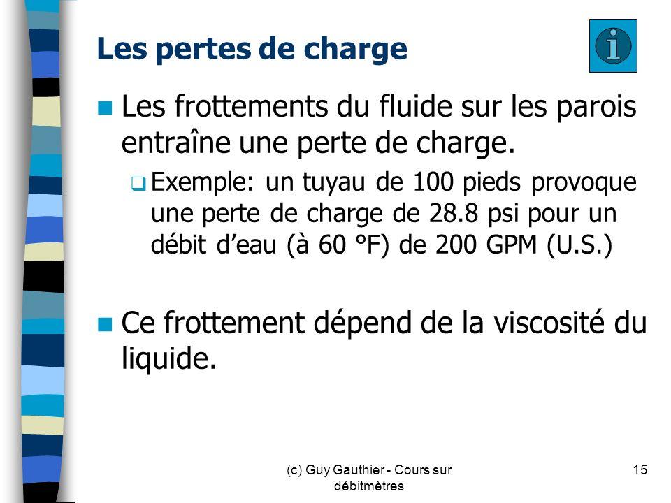 Les pertes de charge Les frottements du fluide sur les parois entraîne une perte de charge. Exemple: un tuyau de 100 pieds provoque une perte de charg