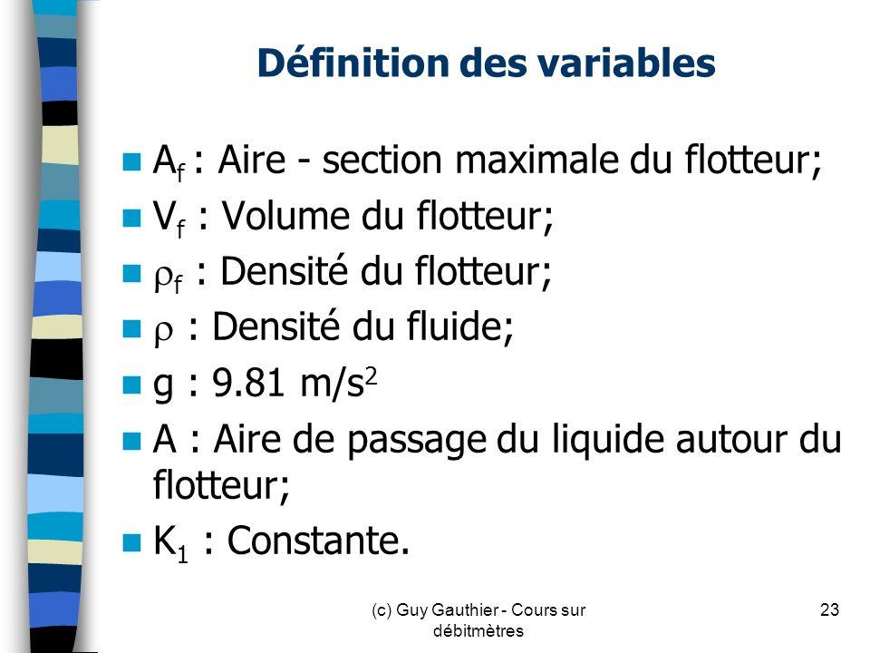 Définition des variables A f : Aire - section maximale du flotteur; V f : Volume du flotteur; f : Densité du flotteur; : Densité du fluide; g : 9.81 m