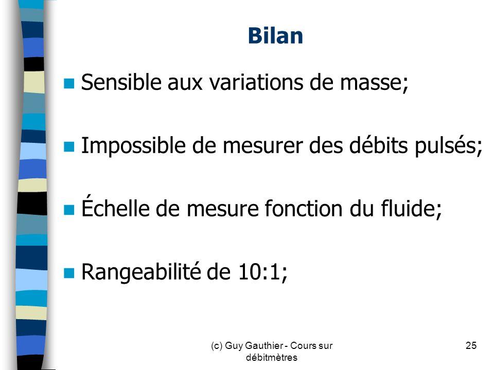 Bilan Sensible aux variations de masse; Impossible de mesurer des débits pulsés; Échelle de mesure fonction du fluide; Rangeabilité de 10:1; 25(c) Guy