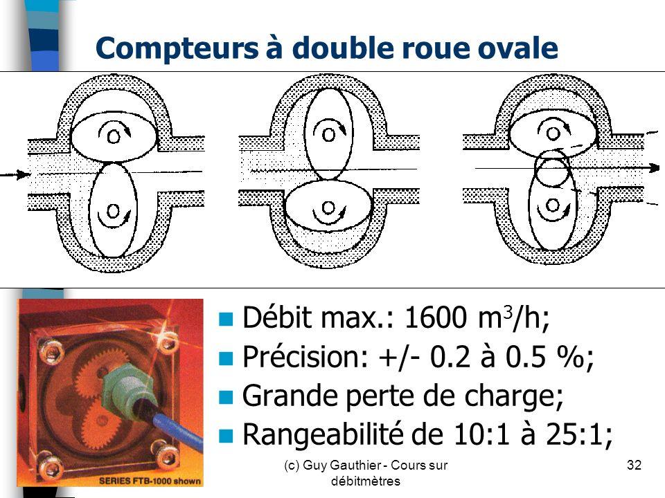 Compteurs à double roue ovale Débit max.: 1600 m 3 /h; Précision: +/- 0.2 à 0.5 %; Grande perte de charge; Rangeabilité de 10:1 à 25:1; 32(c) Guy Gaut