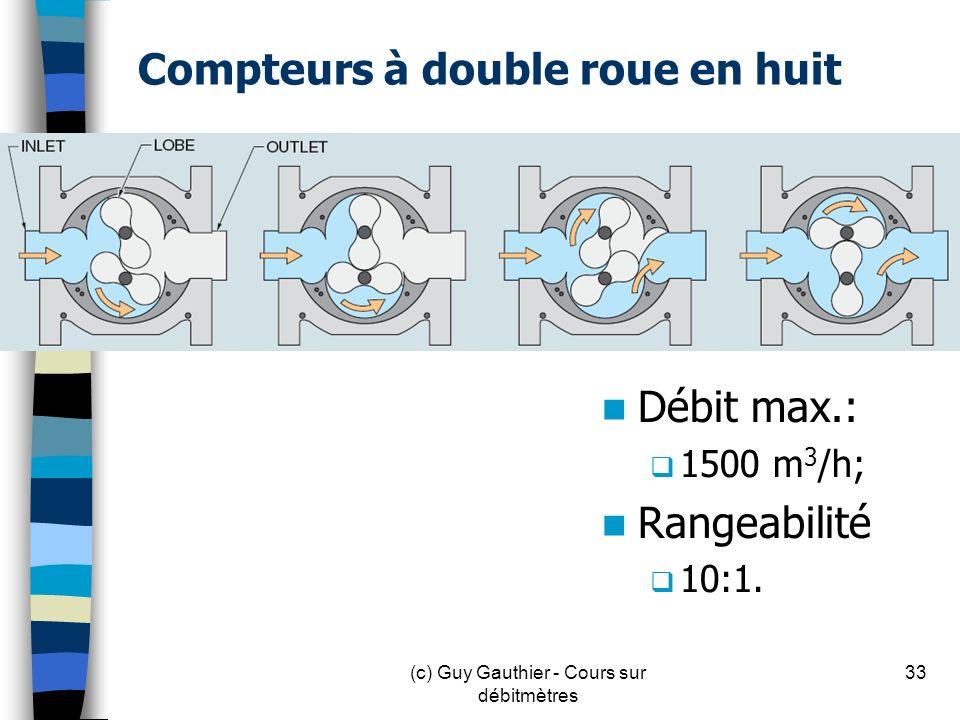 Compteurs à double roue en huit Débit max.: 1500 m 3 /h; Rangeabilité 10:1. 33(c) Guy Gauthier - Cours sur débitmètres