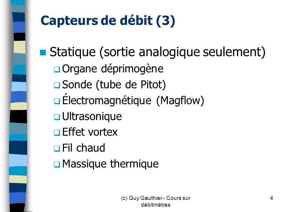 Capteurs de débit (3) Statique (sortie analogique seulement) Organe déprimogène Sonde (tube de Pitot) Électromagnétique (Magflow) Ultrasonique Effet v