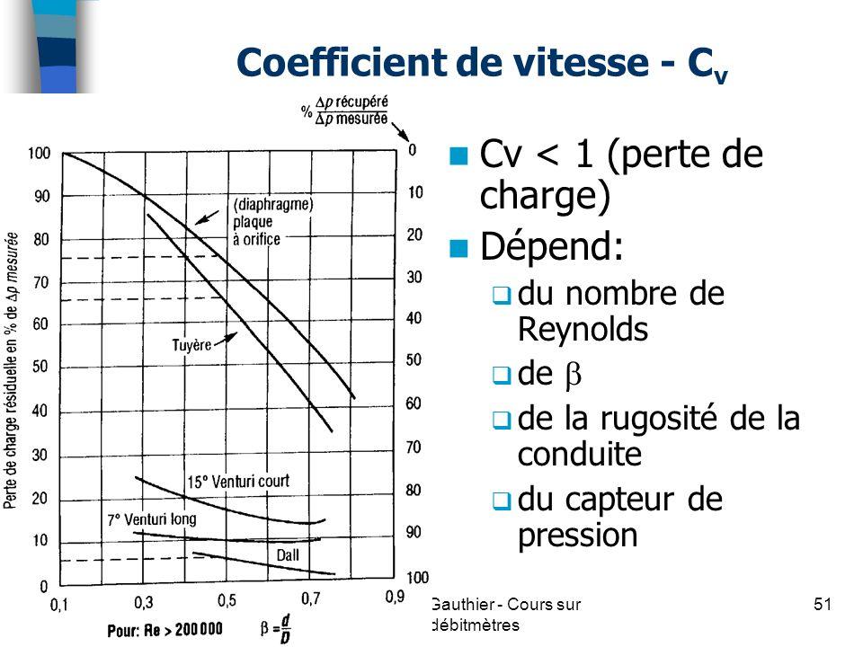 Coefficient de vitesse - C v Cv < 1 (perte de charge) Dépend: du nombre de Reynolds de de la rugosité de la conduite du capteur de pression 51(c) Guy
