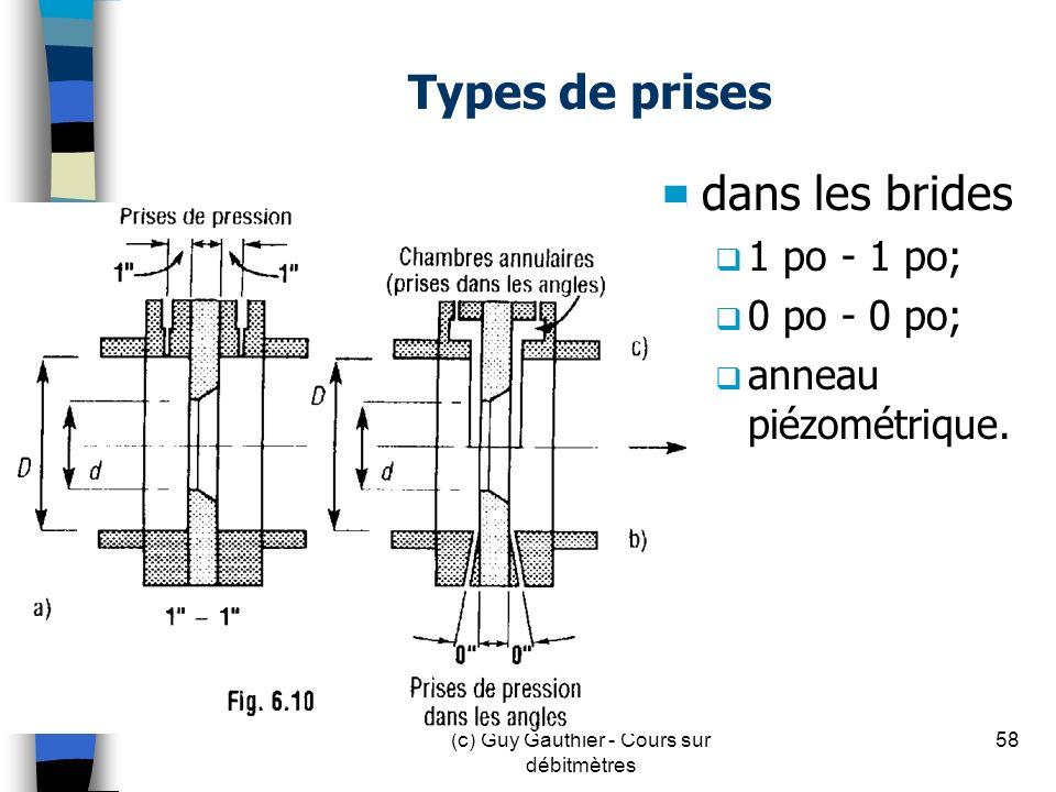 Types de prises dans les brides 1 po - 1 po; 0 po - 0 po; anneau piézométrique. 58(c) Guy Gauthier - Cours sur débitmètres